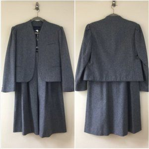 Vintage Maas Brothers wool open front skirt suit